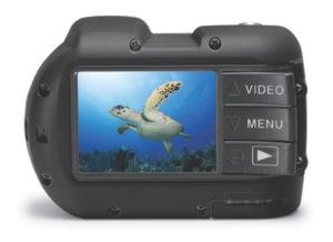 """Großes Display und """"Piano-Tasten"""": die Rückseite der Kamera SeaLife Micro HD. (Foto: Hersteller)"""